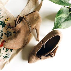 ZARA • woman ruffle heeled booties